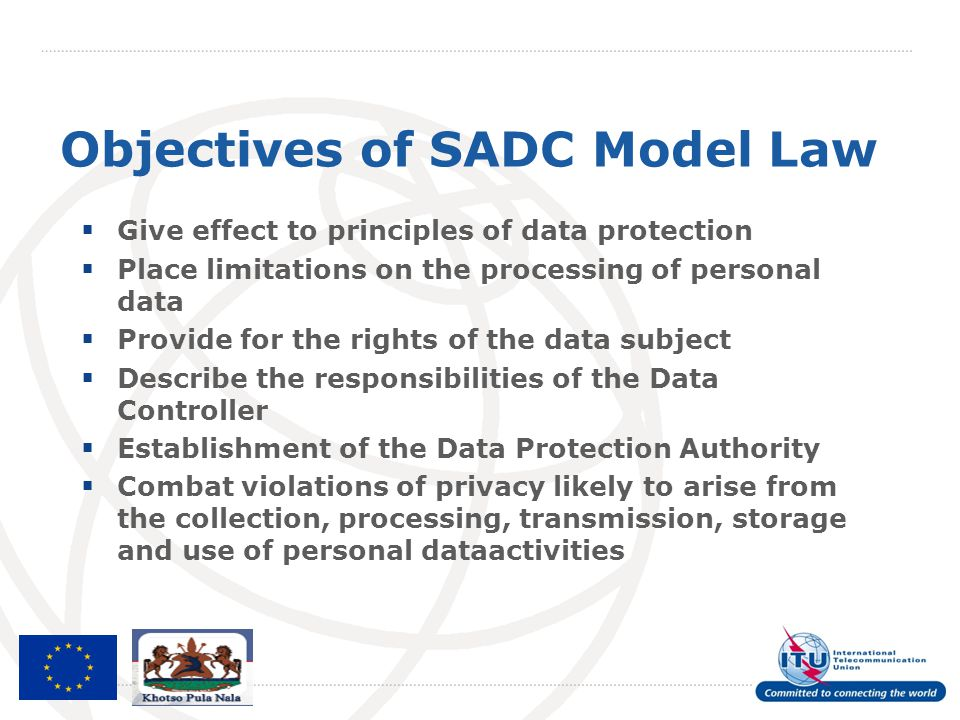 Objectives of SADC Model Law