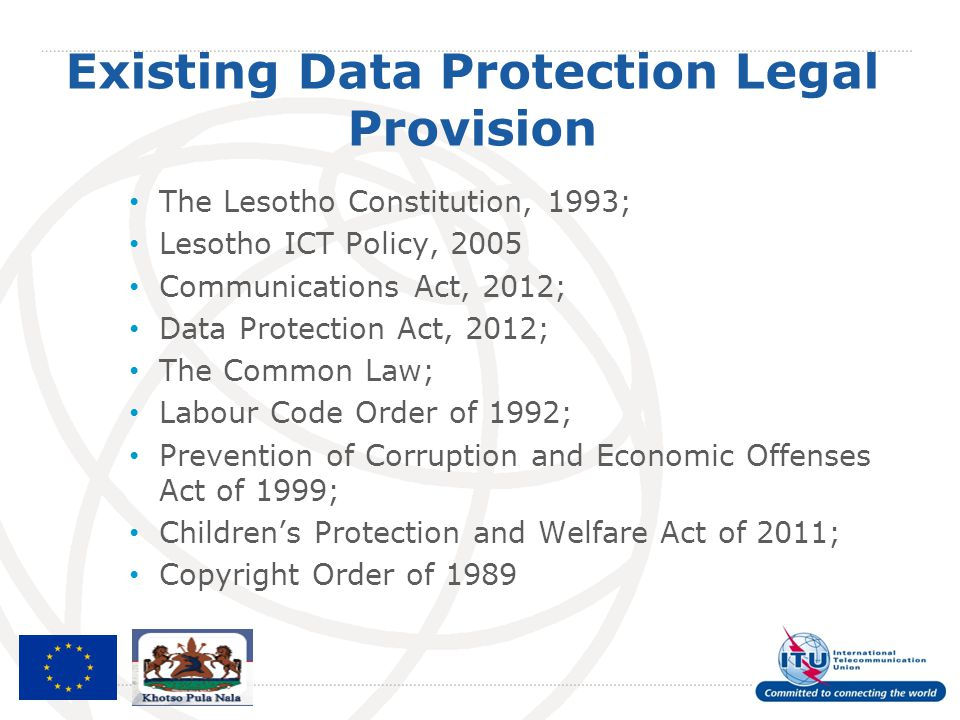 Existing Data Protection Legal Provision