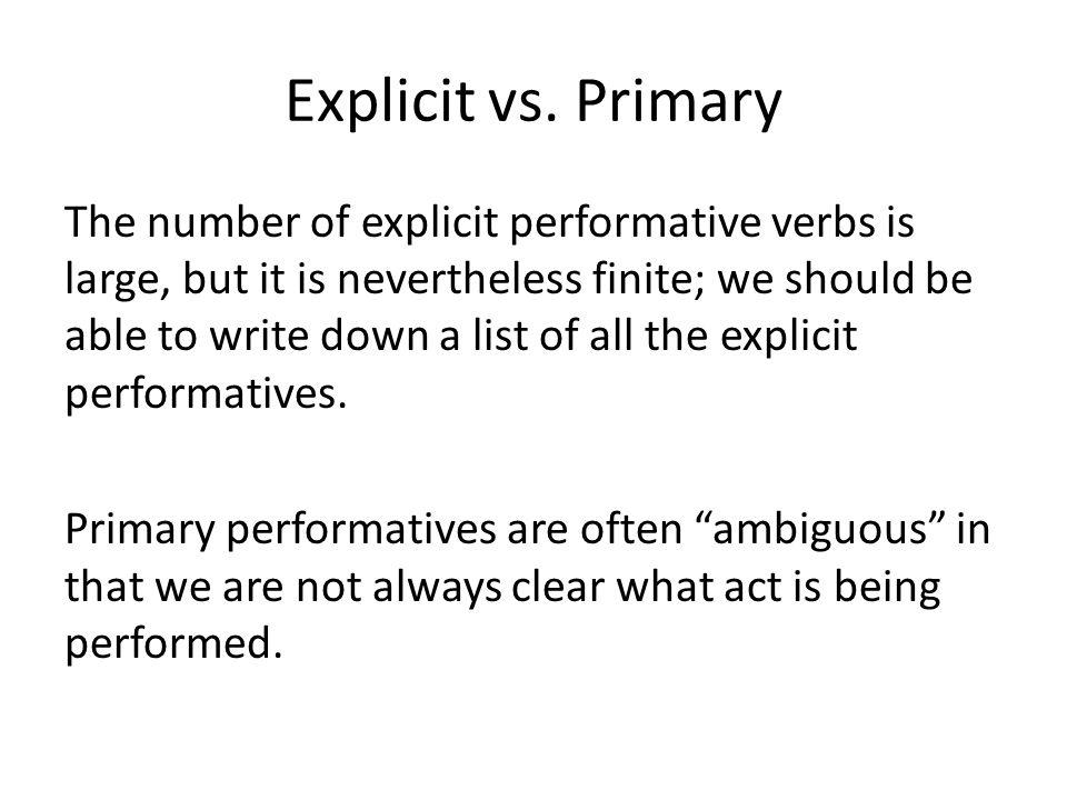 Explicit vs. Primary