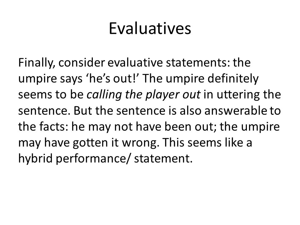 Evaluatives