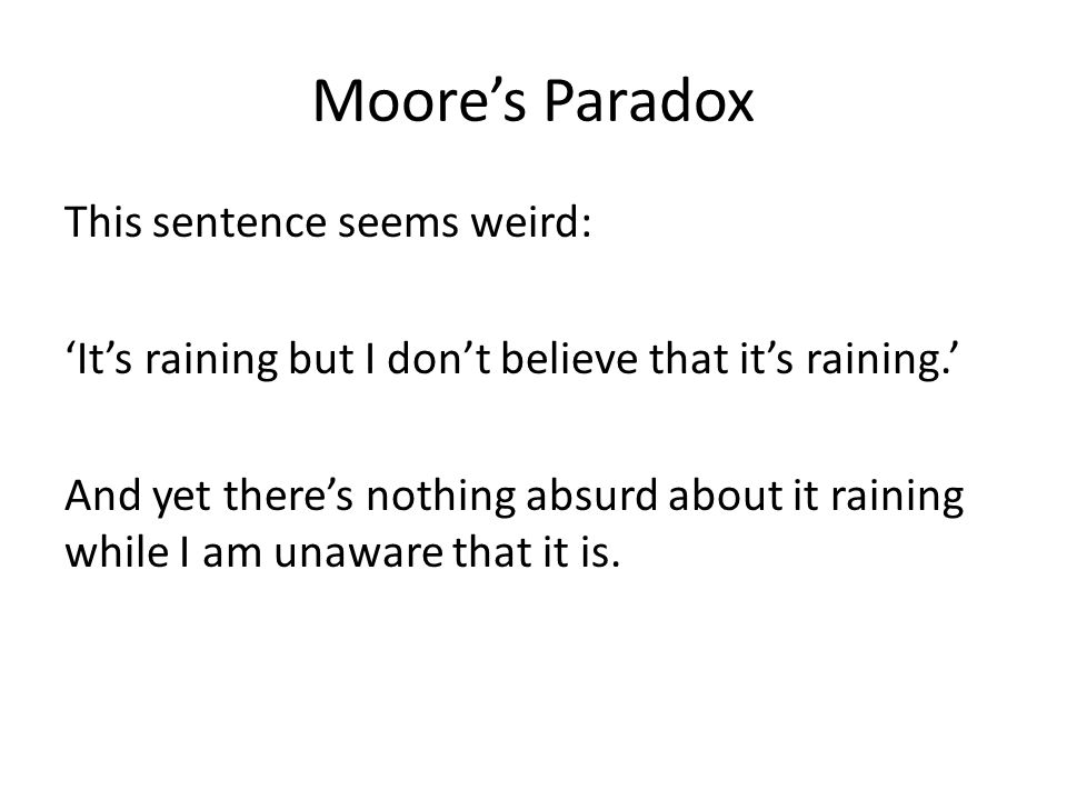 Moore's Paradox