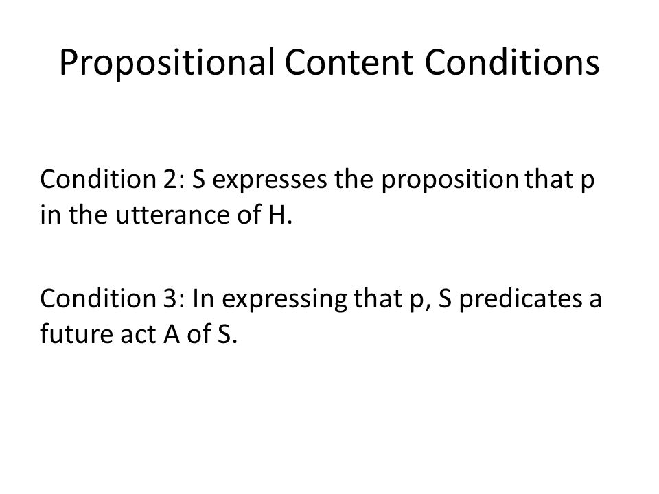 Propositional Content Conditions
