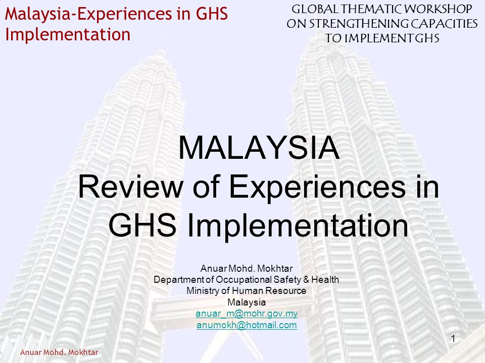 MALAYSIA Review of Experiences in GHS Implementation