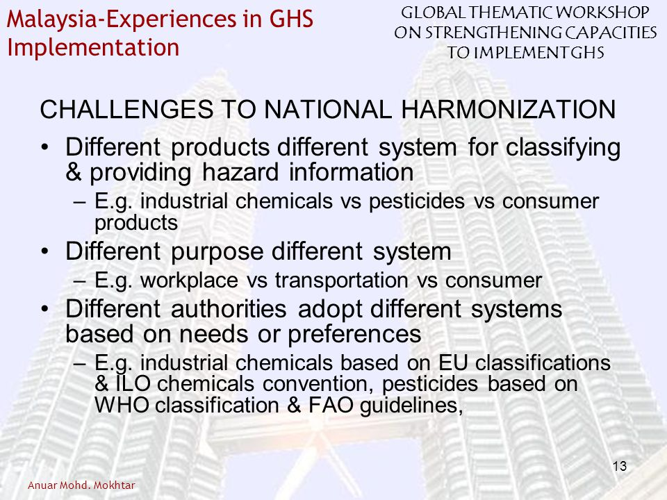 CHALLENGES TO NATIONAL HARMONIZATION