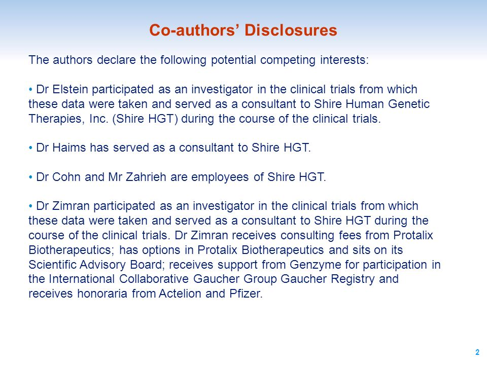 Co-authors' Disclosures