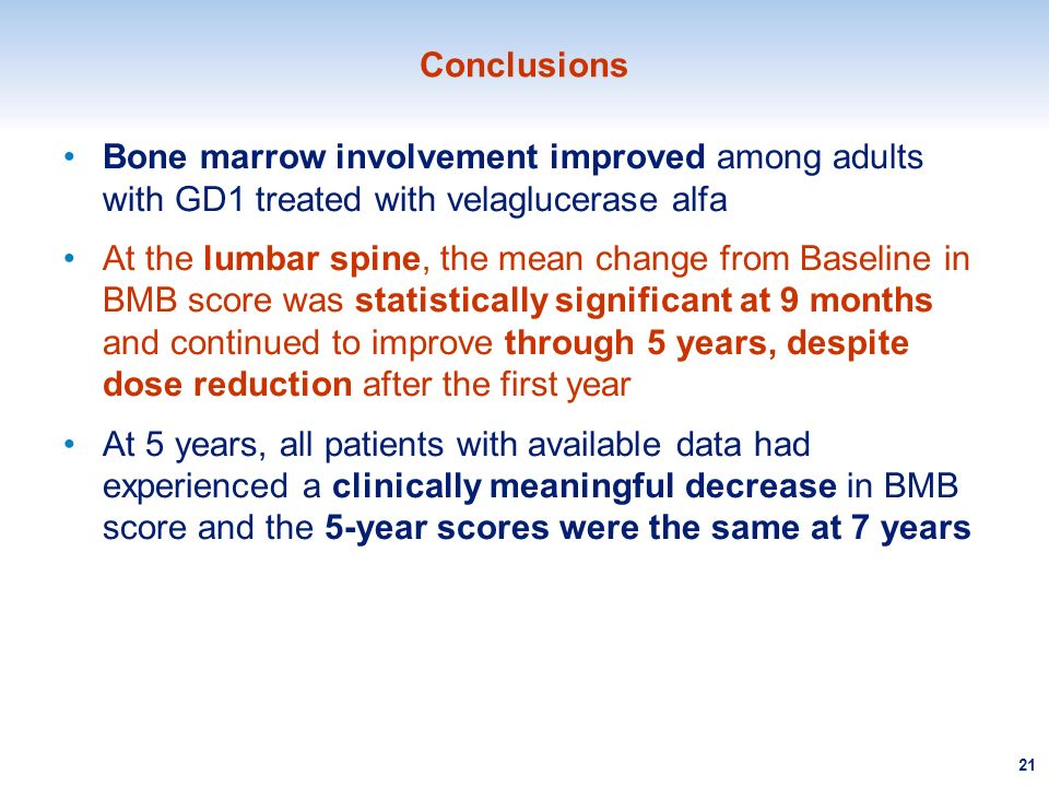 Conclusions Bone marrow involvement improved among adults with GD1 treated with velaglucerase alfa.