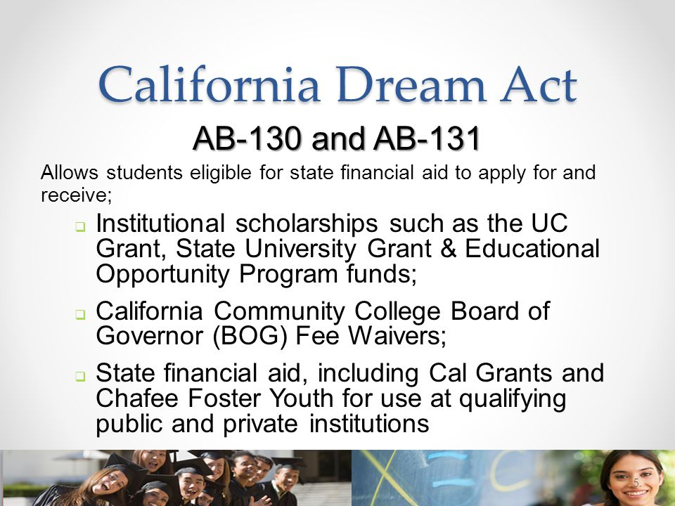California Dream Act AB-130 and AB-131