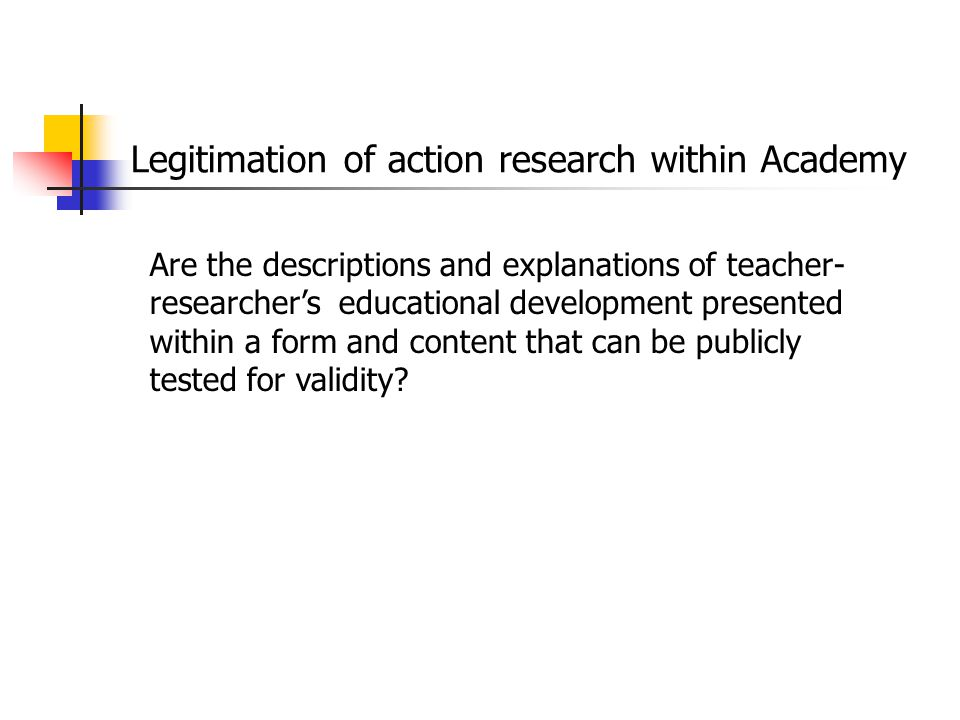 Legitimation of action research within Academy