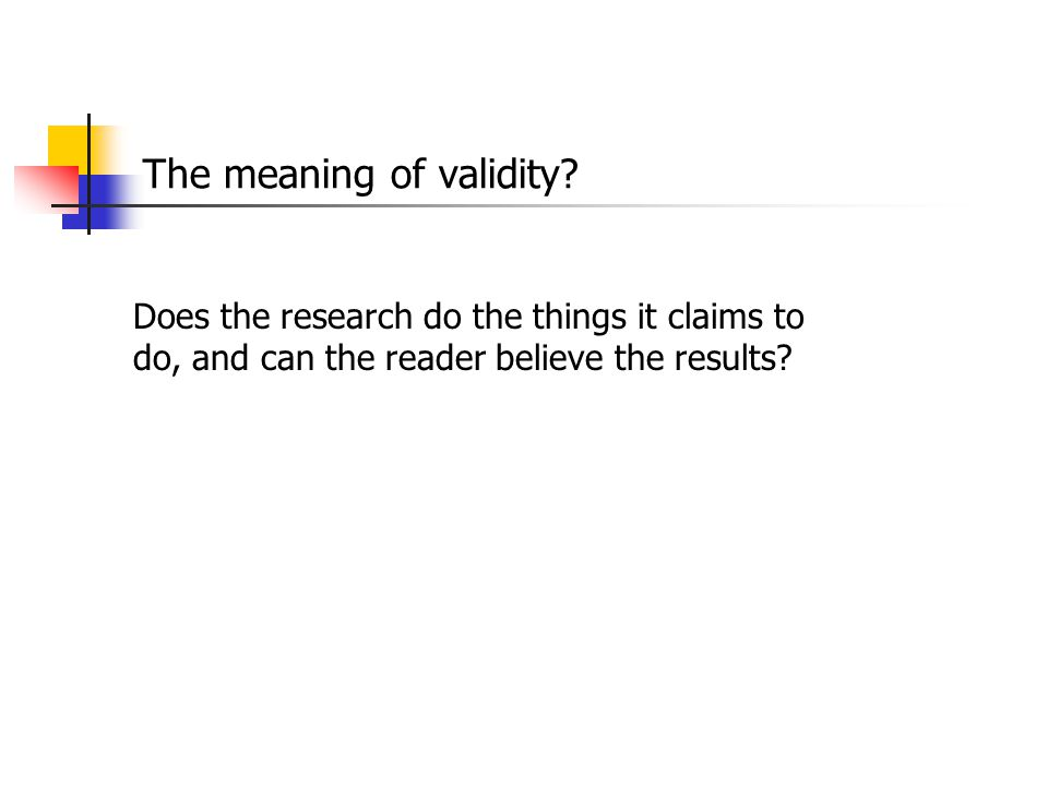 The meaning of validity