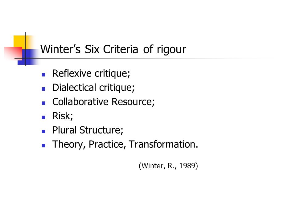 Winter's Six Criteria of rigour