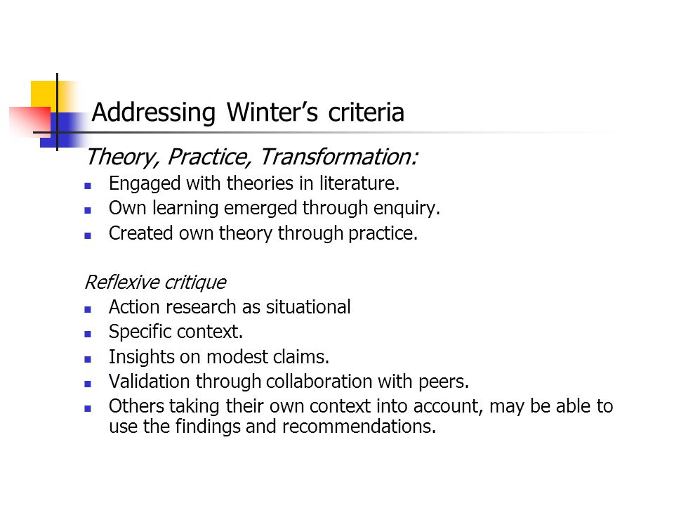 Addressing Winter's criteria