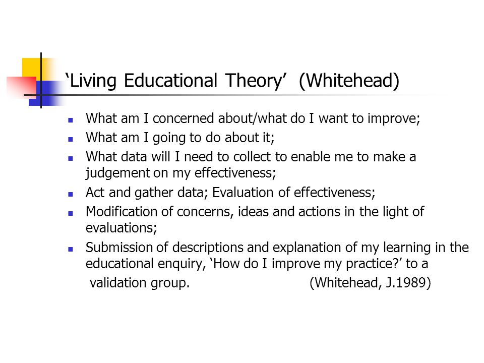 'Living Educational Theory' (Whitehead)