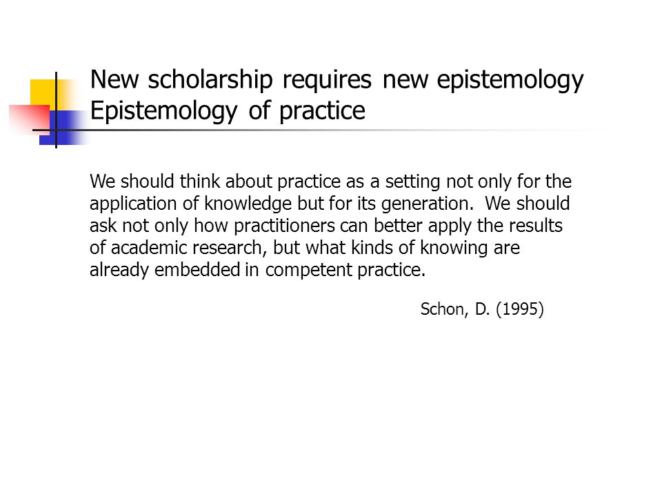 New scholarship requires new epistemology Epistemology of practice
