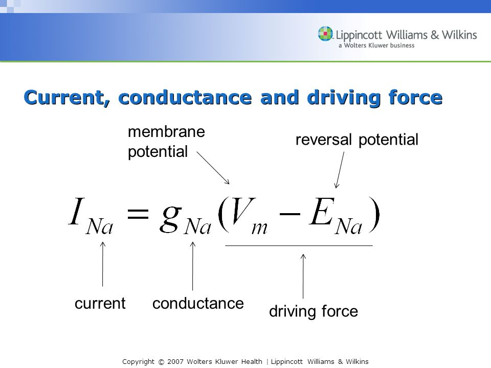 Current, conductance and driving force