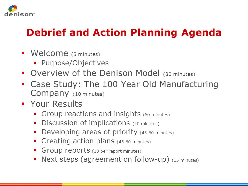 Debrief and Action Planning Agenda