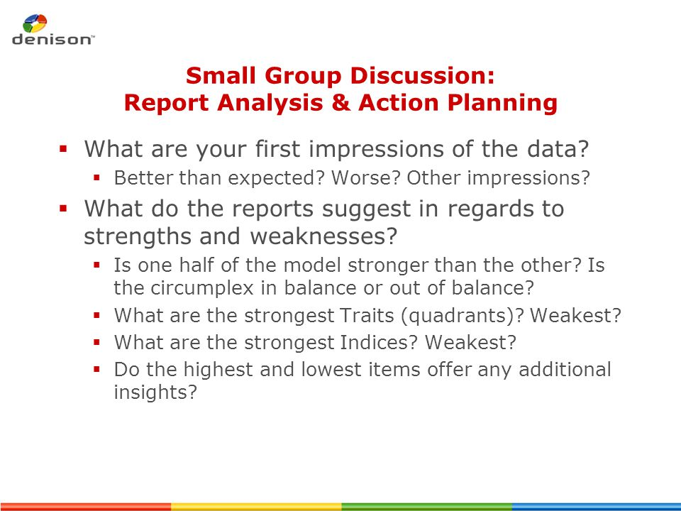 Small Group Discussion: Report Analysis & Action Planning