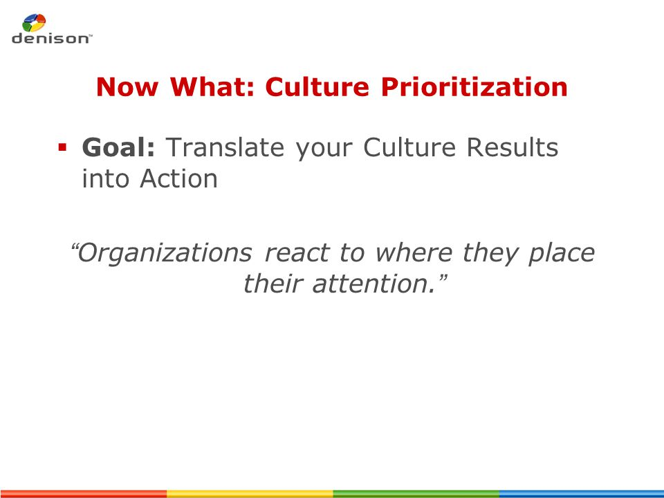 Now What: Culture Prioritization