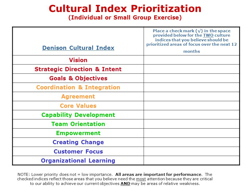 Cultural Index Prioritization (Individual or Small Group Exercise)