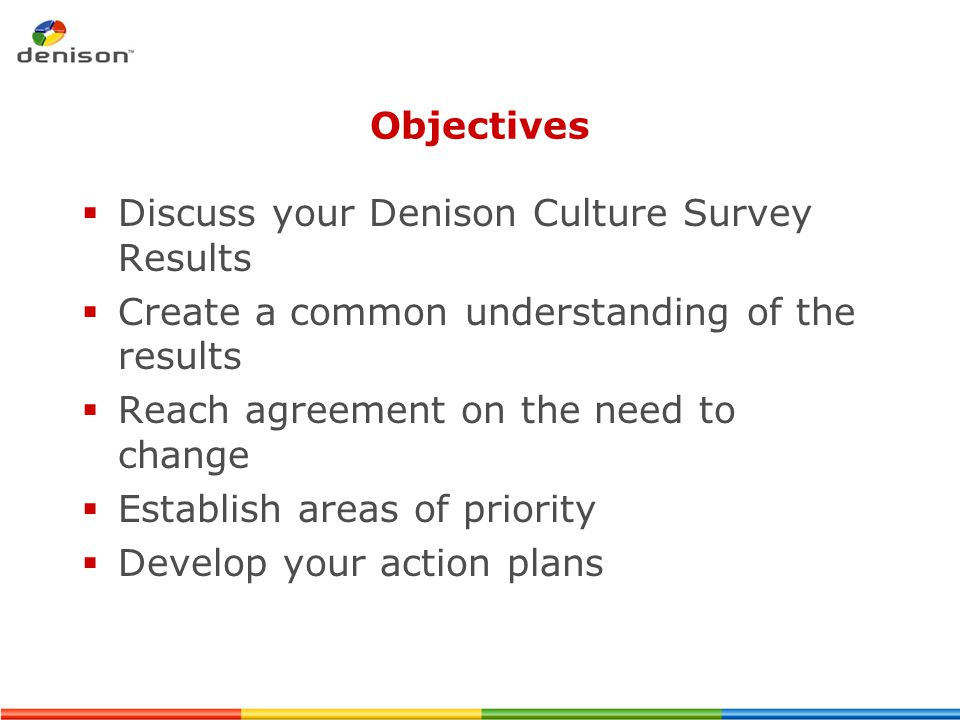 Objectives Discuss your Denison Culture Survey Results. Create a common understanding of the results.