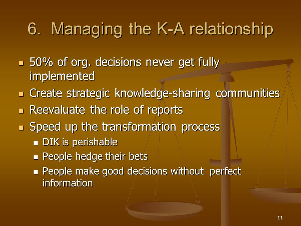 6. Managing the K-A relationship