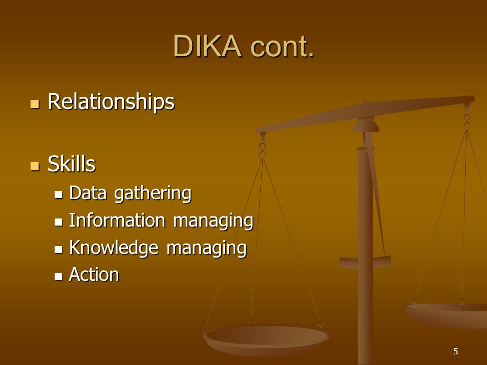 DIKA cont. Relationships Skills Data gathering Information managing