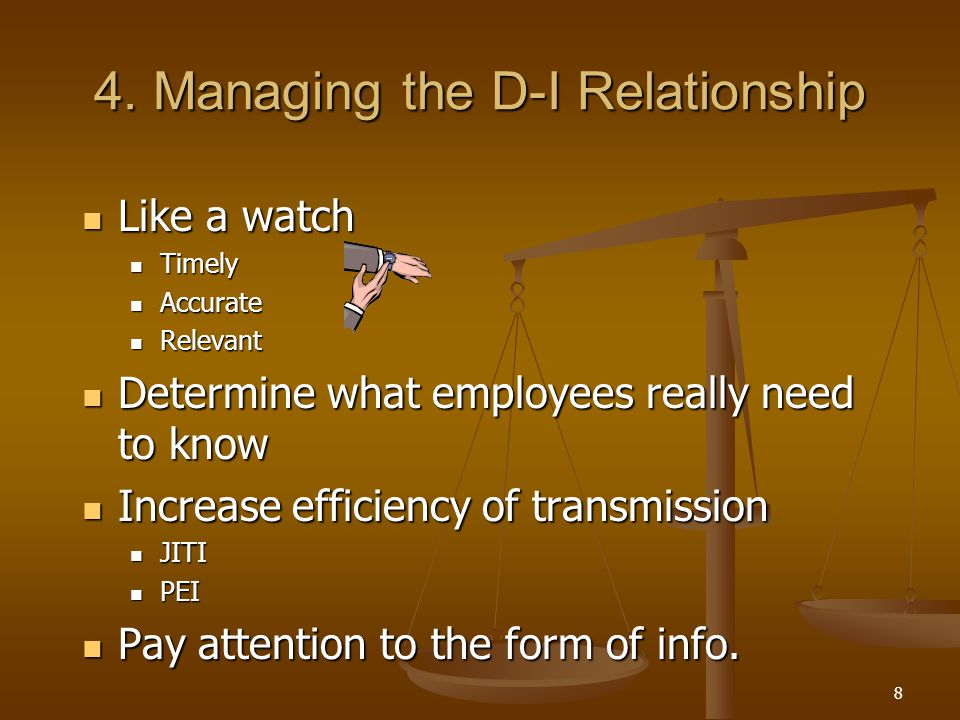 4. Managing the D-I Relationship