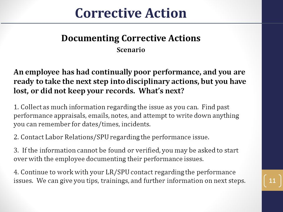 Documenting Corrective Actions