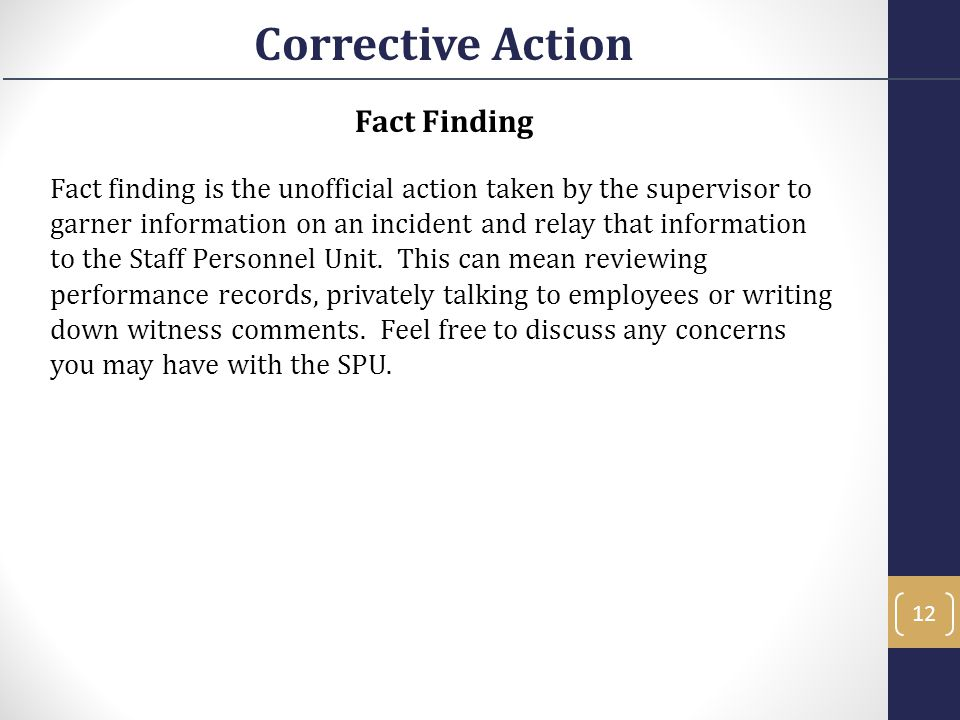 Corrective Action Fact Finding