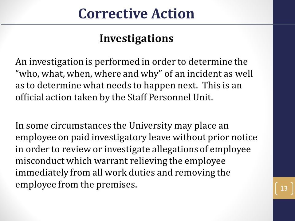 Corrective Action Investigations
