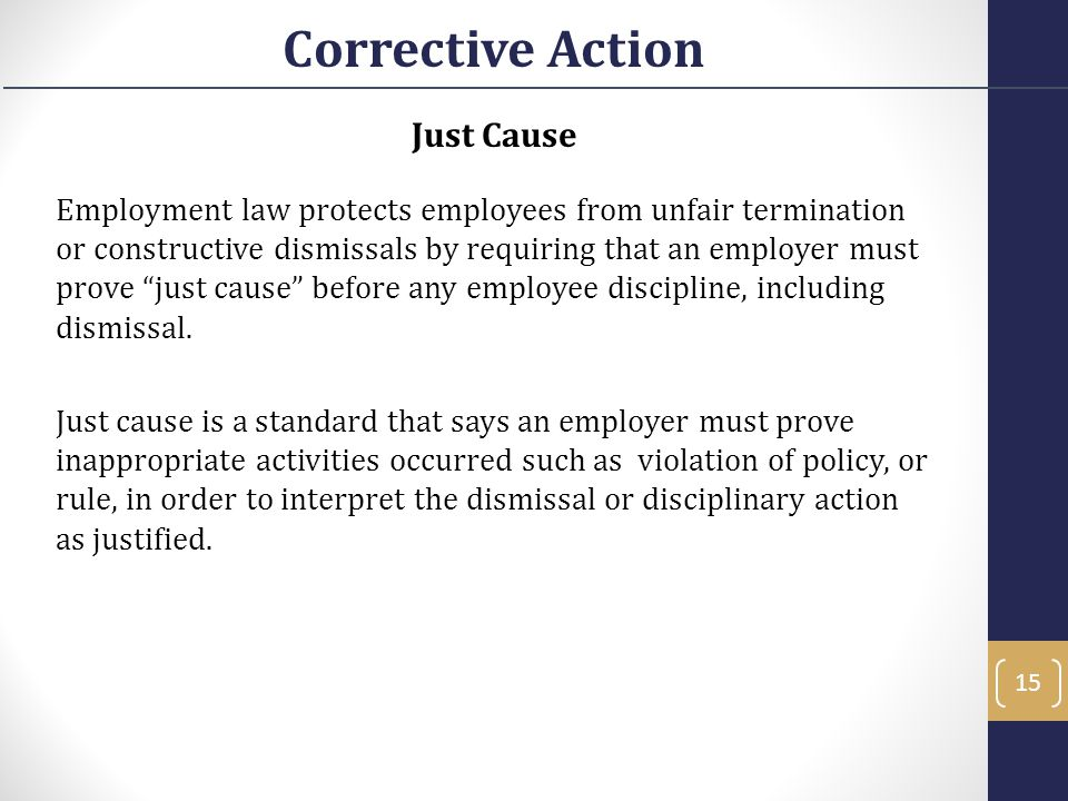 Corrective Action Just Cause