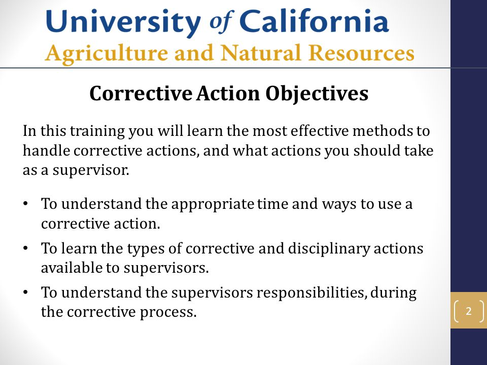 Corrective Action Objectives