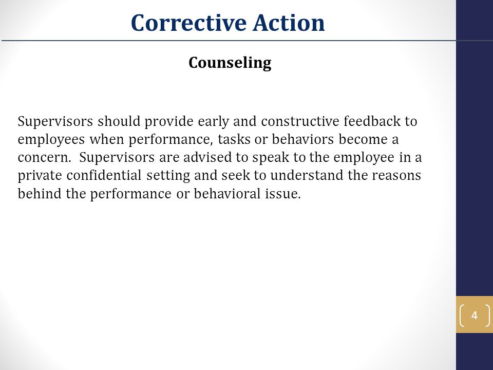 Corrective Action Counseling