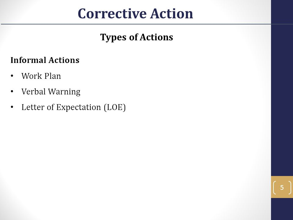 Corrective Action Types of Actions Informal Actions Work Plan