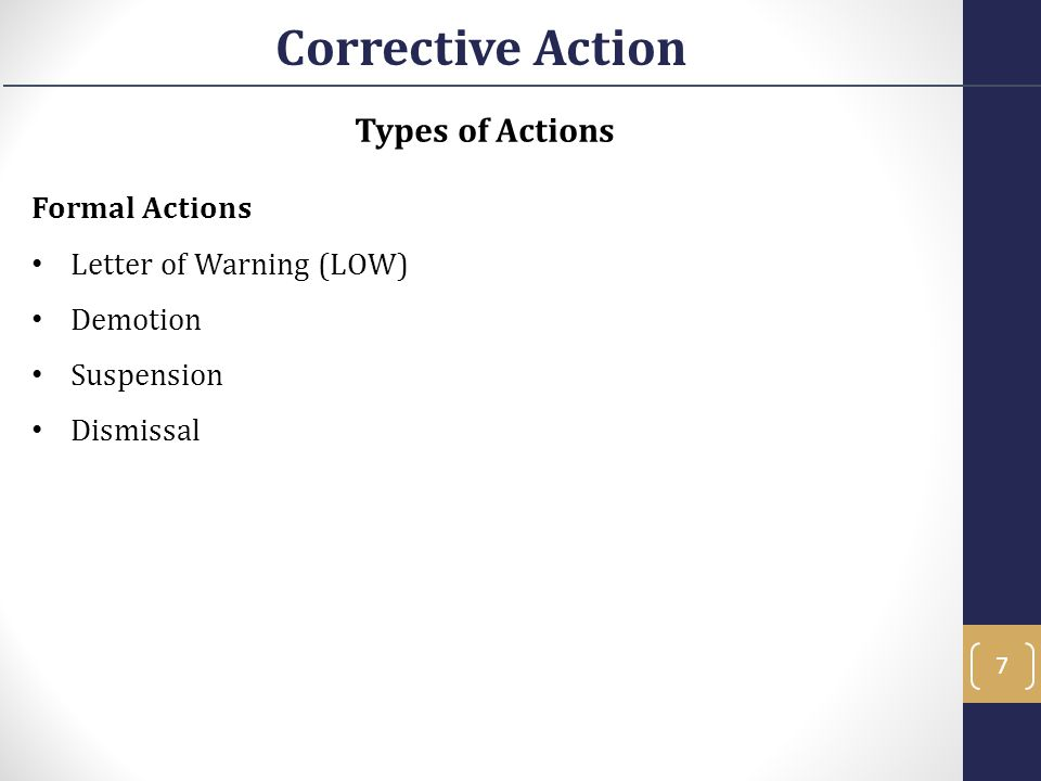 Corrective Action Types of Actions Formal Actions