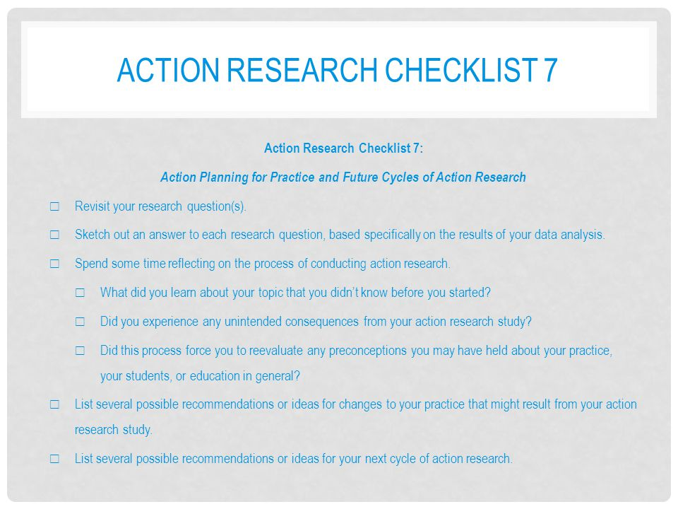 Action research checklist 7