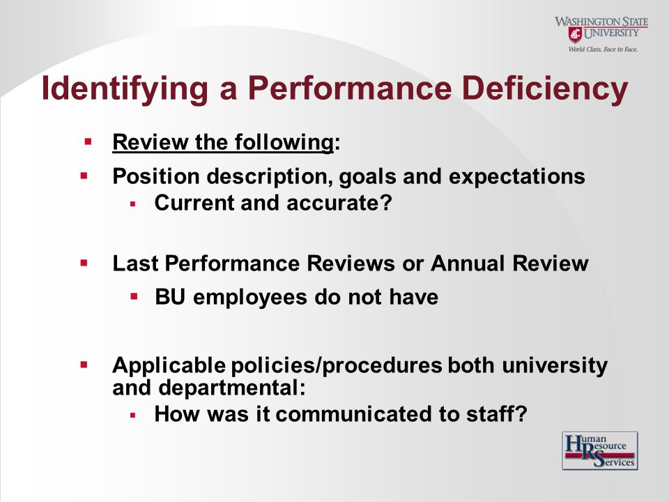 Identifying a Performance Deficiency