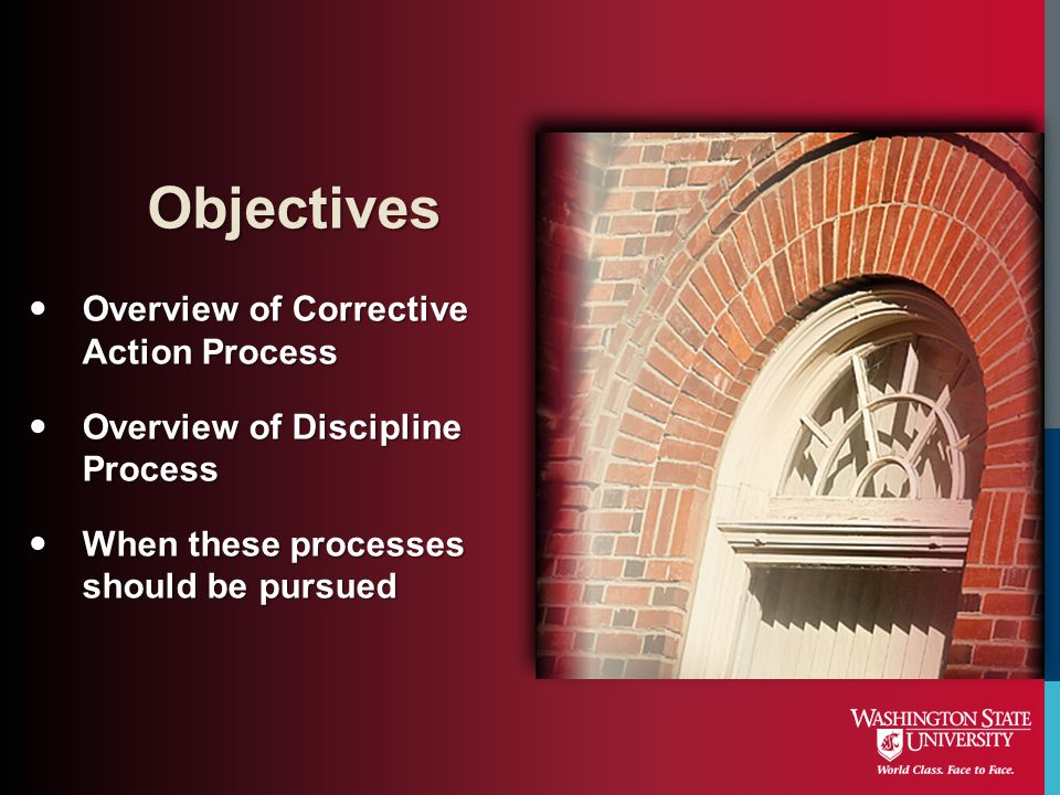 Objectives Overview of Corrective Action Process
