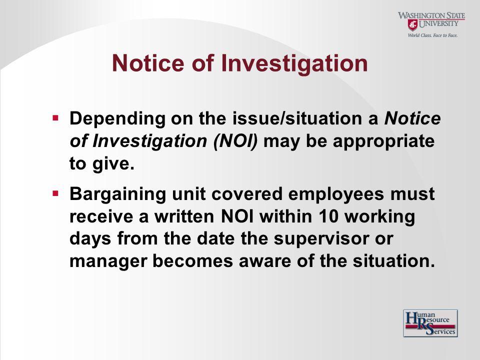 Notice of Investigation