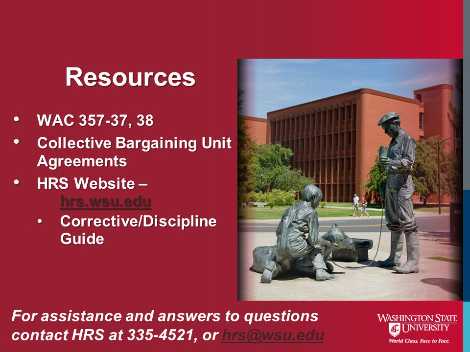 Resources WAC 357-37, 38 Collective Bargaining Unit Agreements
