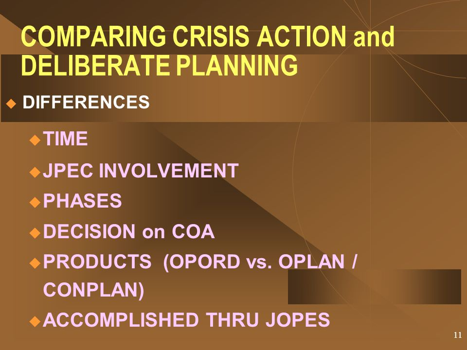 COMPARING CRISIS ACTION and DELIBERATE PLANNING