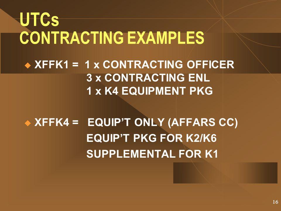 UTCs CONTRACTING EXAMPLES