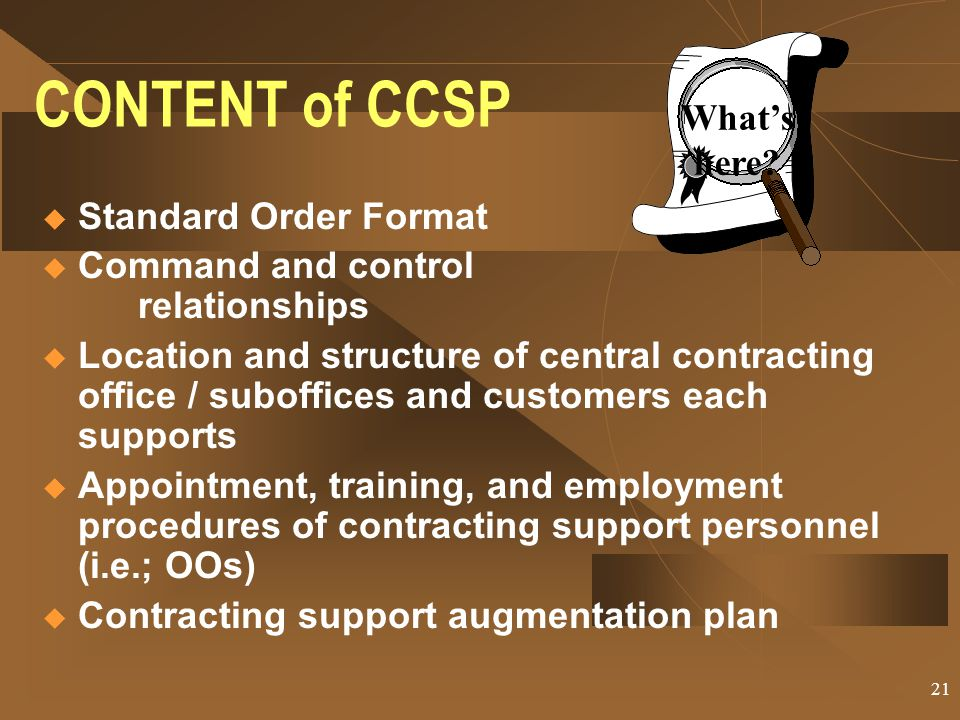 CONTENT of CCSP What's here Standard Order Format