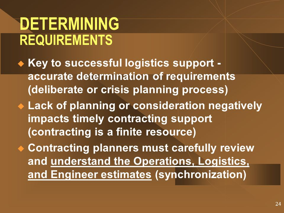 DETERMINING REQUIREMENTS
