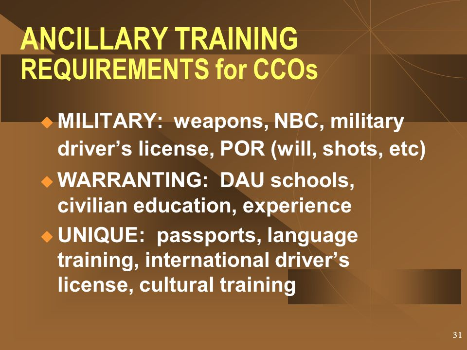 ANCILLARY TRAINING REQUIREMENTS for CCOs