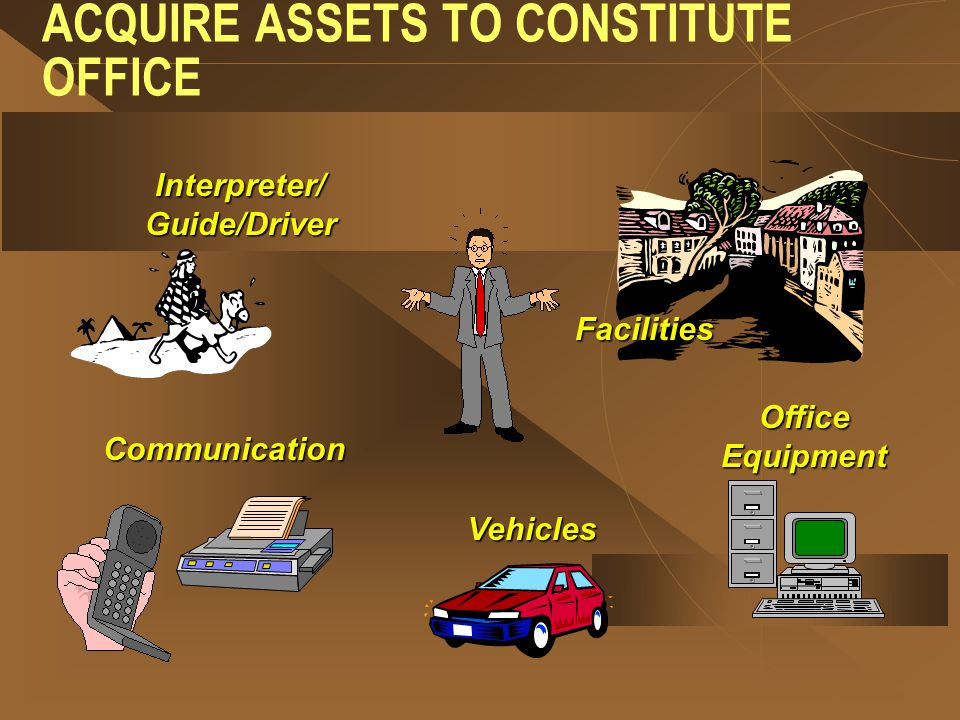 ACQUIRE ASSETS TO CONSTITUTE OFFICE