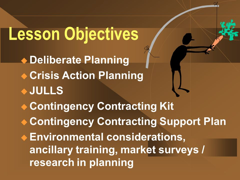 Lesson Objectives Deliberate Planning Crisis Action Planning JULLS