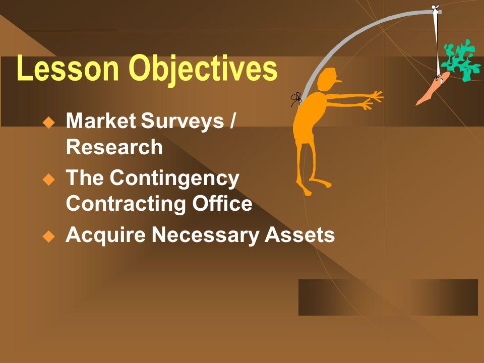 Lesson Objectives Market Surveys / Research