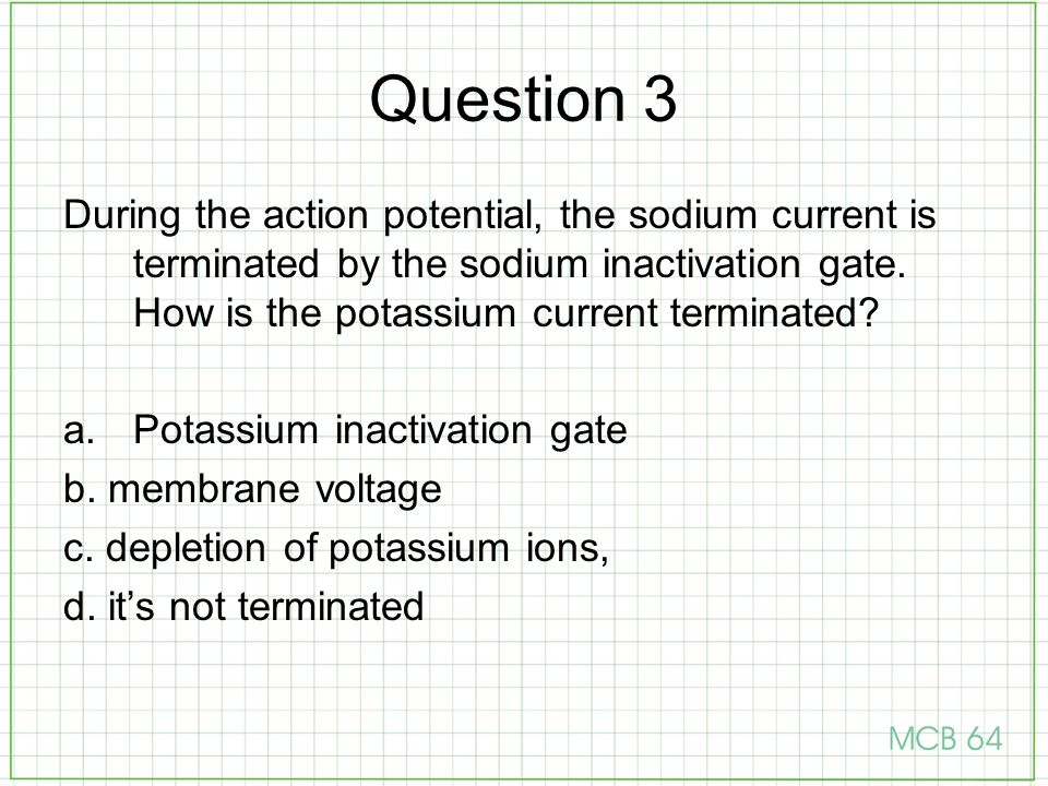 Question 3 During the action potential, the sodium current is terminated by the sodium inactivation gate. How is the potassium current terminated