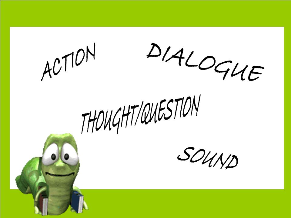 DIALOGUE ACTION THOUGHT/QUESTION SOUND