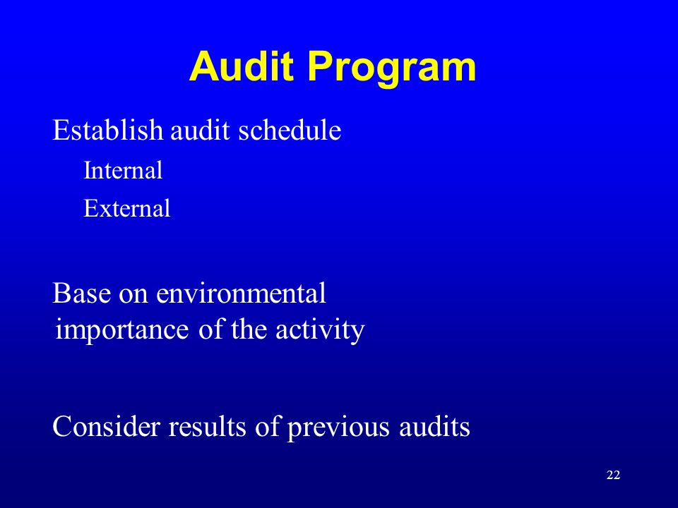Audit Program Establish audit schedule